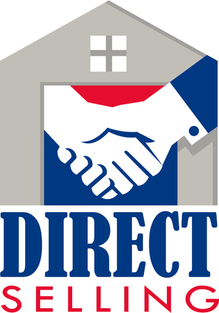 direct sale: Illustration of a handshake set inside a house with the words text Direct Selling done in retro style.