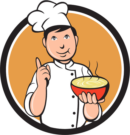 Illustration of an asian chef holding a bowl of noode and doing the number one sign with the other hand viewed from front set inside circle on isolated background done in cartoon style.