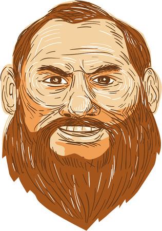 viso uomo: Illustrazione di un grande uomo sorridente con la faccia barbuta visto dal set di fronte su sfondo bianco isolato fatto in stile retrò.