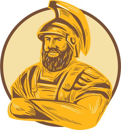 mythology: Drawing sketch style illustration of Agamemnon,  king of Mycenae in the Greek mythology with arms crossed set inside circle on isolated background.