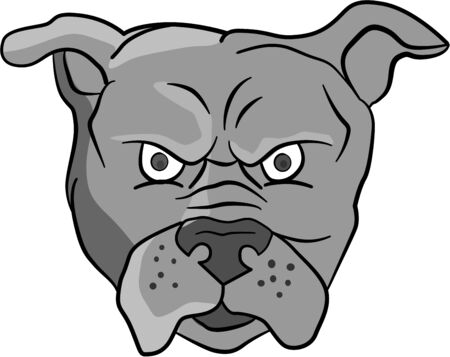 front facing: Illustration of an angry bulldog head facing front set on isolated white background done in cartoon style.