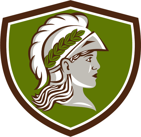 minerva: Illustration of Minerva or Menrva, the Roman goddess of wisdom and sponsor of arts, trade, and strategy wearing helment and laurel crown viewed from side set inside shield crest done in retro style. Illustration