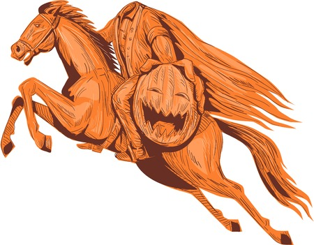 Drawing sketch style illustration of the headless horseman or galloping Hessian of sleepy hollow riding a horse and holding out his pumpkin head viewed from the side set on isolated white background.