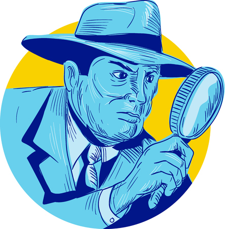 Drawing sketch style illustration of a detective policeman police officer holding magnifying glass set inside circle on isolated background. Illustration