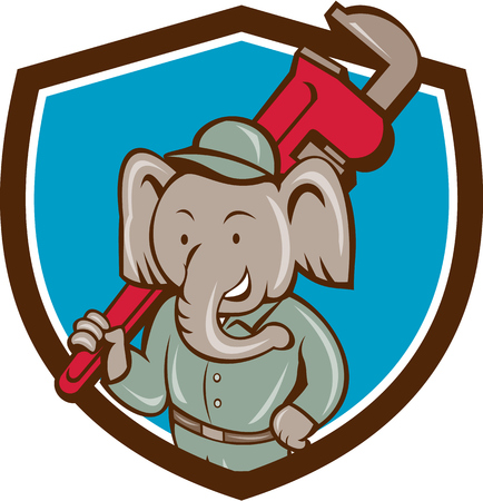 pachyderm: Illustration of an african elephant plumber mascot holding monkey wrench on shoulder set inside shield crest on isolated background done in cartoon style.