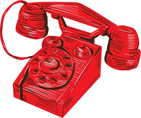 bakelite: Drawing sketch style illustration of a 1930s vintage telephone viewed from front set on isolated white background.