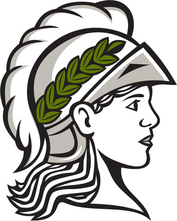 minerva: Illustration of Minerva or Menrva, the Roman goddess of wisdom and sponsor of arts, trade, and strategy wearing helment and laurel crown head viewed from side set on isolated white background.