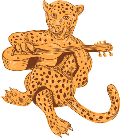 panthera: Drawing sketch style illustration of a jaguar sitting playing guitar viewed from front set on isolated white background.