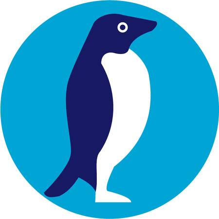 Illustration of an Adelie penguin or Pygoscelis adeliae, a species of penguin common along the entire Antarctic coast viewed from the side set inside circle done in retro style.