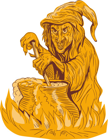 brew: Drawing sketch style illustration of a witch stirring brew in a pot facing front set on isolated white background.