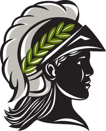 minerva: Illustration of Minerva or Menrva, the Roman goddess of wisdom and sponsor of arts, trade, and strategy wearing helmet and laurel crown head in a silhouette viewed from side set on isolated white background.