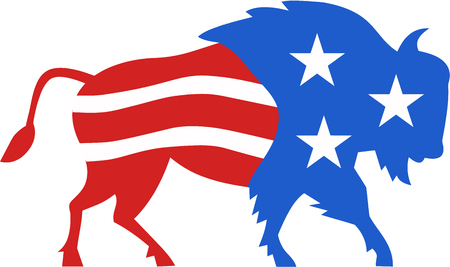 american bison: Illustration of an american bison buffalo bull with american stars and stripes flag as part of the body and head viewed from the side set on isolated white background done in retro style.