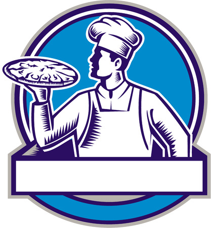 bread maker: Illustration of a pizza chef baker holding serving pizza looking to the side set inside circle on isolated background done in retro woodcut style.