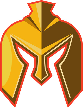 Illustration of a spartan helmet viewed from front set on isolated white background done in retro style. Illustration