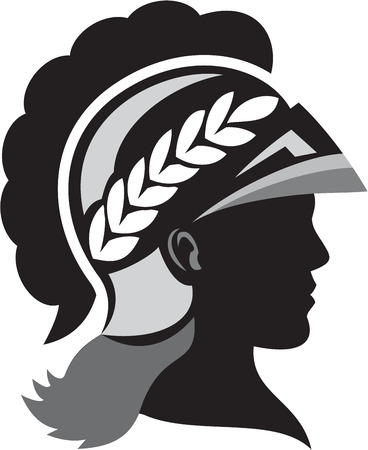 minerva: Illustration of a silhouette of Minerva or Menrva, the Roman goddess of wisdom and sponsor of arts, trade, and strategy wearing helmet and laurel crown viewed from side set on isolated white background done in retro style.