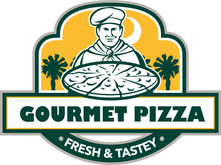 palmetto: Illustration of a chef with pizza set inside shield and banner with the words text Gourmet Pizza Fresh & Tastey and palmetto trees in the background done in retro style. Illustration