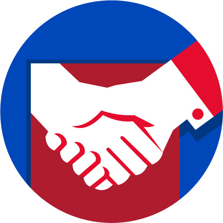 Illustration of a hand shaking business deal set inside circle done in retro style.