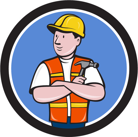 arms folded: Illustration of a builder carpenter construction worker arms folded holding hammer looking to the side set inside circle on isolated background done in cartoon style.