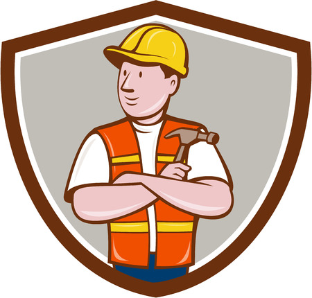 arms folded: Illustration of a builder carpenter construction worker arms folded holding hammer looking to the side set inside shield crest on isolated background done in cartoon style.