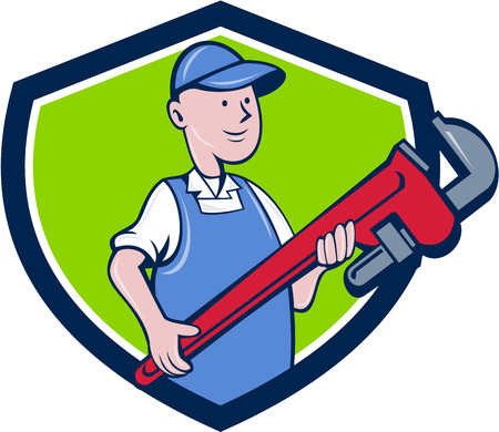 cradling: Illustration of a mechanic cradling holding giant pipe wrench looking to the side viewed from front set inside shield crest on isolated background done in cartoon style.