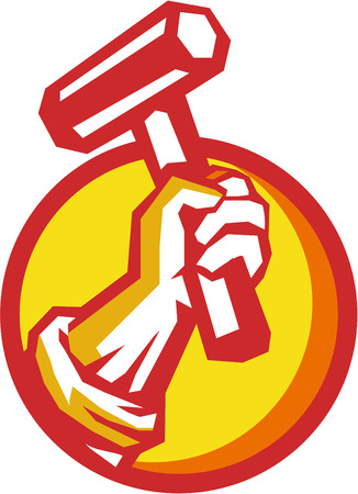 trade union: Illustration of a union worker hand holding hammer set inside circle on isolated background done in retro style. Illustration