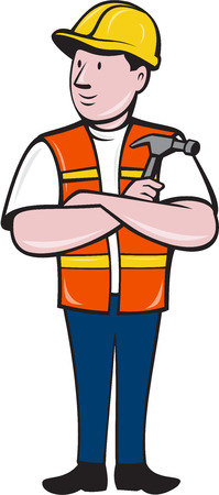arms folded: Illustration of a builder carpenter construction worker arms folded holding hammer looking to the side set on isolated white background done in cartoon style.
