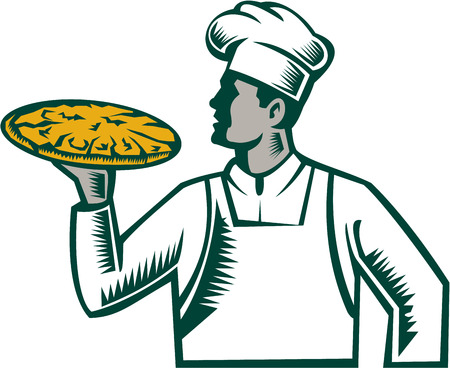 Illustration of a pizza chef baker holding pizza looking to the side set on isolated white background done in retro woodcut style.