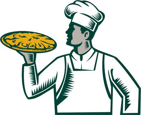 Ilustración de una pizza la celebración de pizza chef panadero mirando al conjunto de lado en el fondo blanco aislado hecho en estilo retro grabado en madera.