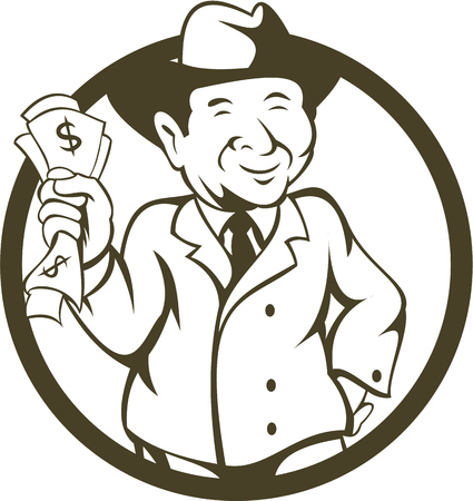 fedora: Illustration of a businessman wearing fedora hat clutching bank notes in one hand and the the other hand on hips viewed from the front set inside circle done in cartoon style.