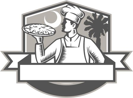 palmetto: Illustration of a pizza chef baker serving holding pizza looking to the side viewed from front set inside shield crest with moon and palmetto tree in the background done in retro style.
