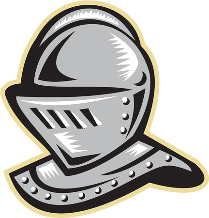 printmaking: Illustration of a knight armor helmet set on isolated white background done in retro woodcut style.