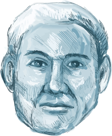Drawing sketch style illustration of a blue man identikit viewed from front set on isolated white background.