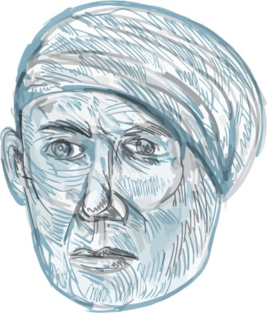 turban: Drawing sketch style illustration of an old man wearing turban viewed from front set on isolated white background. Illustration