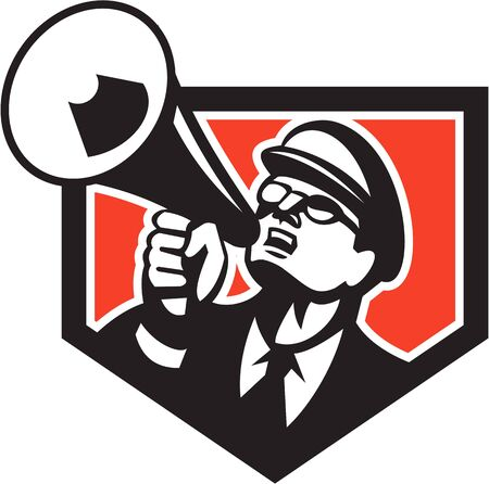 shouting: Illustration of a nerd man wearing hat and eye glasses looking up shouting through megaphone set inside shield crest on isolated background done in retro style.