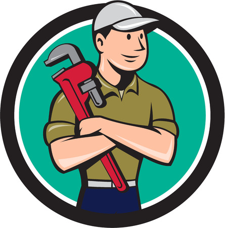 Illustration of a plumber wearing hat looking to the side arms crossed holding monkey wrench viewed from front set inside circle on isolated background done in cartoon style. 일러스트