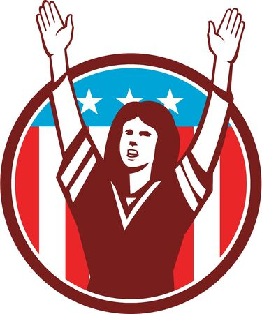 gridiron: Illustration of a female american football fan with hands raised up viewed from front set inside circle with american usa stars and stripes flag in the background done in retro style.