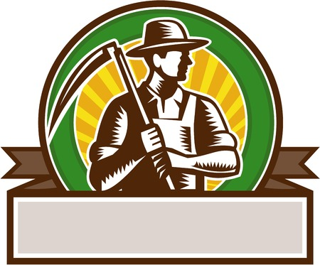printmaking: Illustration of an organic farmer farm worker wearing hat holding scythe looking to the side set inside circle and banner with sunburst in the background done in retro woodcut style.