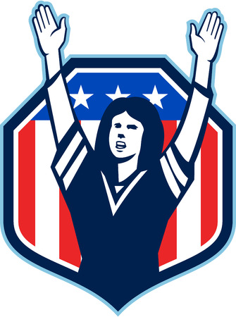 Illustration of a female american football fan with hands raised up viewed from front set inside shield crest with american usa stars and stripes flag in the background done in retro style. Illustration