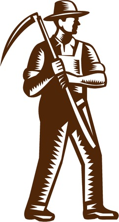 fullbody: Illustration of an organic farmer farm worker full body wearing hat holding scythe facing side set on isolated white background done in retro woodcut style.