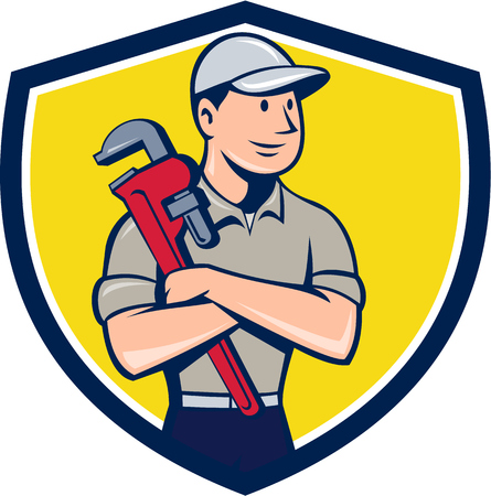 Illustration of a plumber wearing hat looking to the side arms crossed holding monkey wrench viewed from front set inside shield crest on isolated background done in cartoon style.