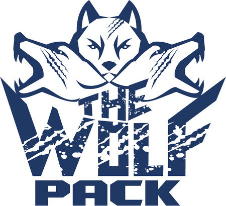 Illustration of a pack of wolf heads viewed from front set on isolated white background with the text words The Wolf Pack done in retro style. Illustration