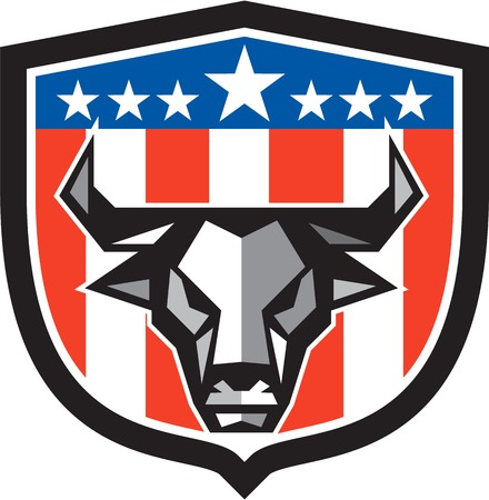 front facing: Low polygon style illustration of a bull cow head facing front set inside shield crest with usa american stars and stripes flag in the background.