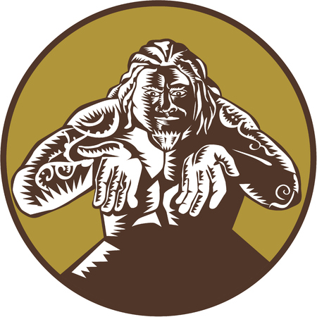 printmaking: Illustration of Samoan legend god Tagaloa facing front with arms out set inside circle done in retro woodcut style. Illustration