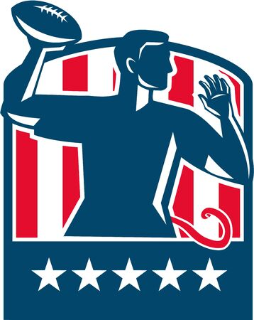 quarterback: Illustration of a flag football player QB passing ball viewed from the side set inside shield crest with usa american stars and stripes flag in the background done in retro style. Illustration