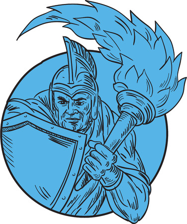 roman soldier: Drawing sketch style illustration of centurion roman soldier gladiator holding flaming torch and shield viewed from front set inside circle on isolated background.