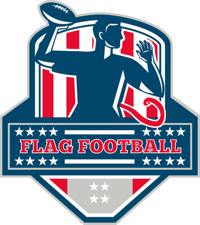 canadian football: Illustration of a flag football player QB passing ball viewed from the side set inside shield crest with the words text Flag Football done in retro style.