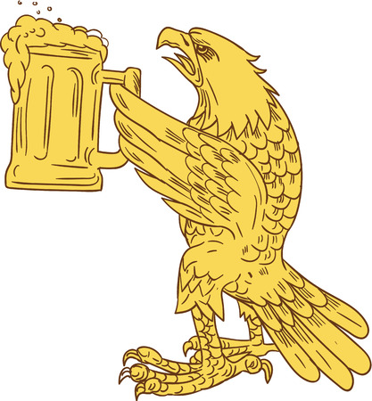 beer stein: Drawing sketch style illustration of an american bald eagle hoisting beer mug stein viewed from the side set on isolated white background.