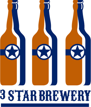 long neck: Illustration of three beer long neck bottles with star and the words text Star Brewery set on isolated white background done in retro style. Illustration