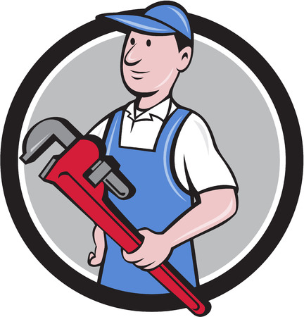 Illustration of a handyman wearing hat looking to the side holding pipe wrench viewed from front set inside circle on isolated background done in cartoon style.