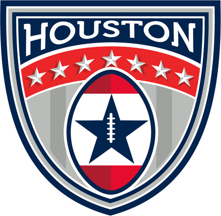big game: Illustration of an American football ball big game set inside shield crest with stars and stripes and the word Houston done in retro style.